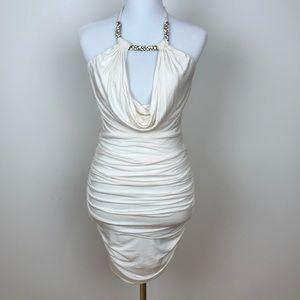 Medium off White Sky Mini Jeweled 💎 Halter Dress